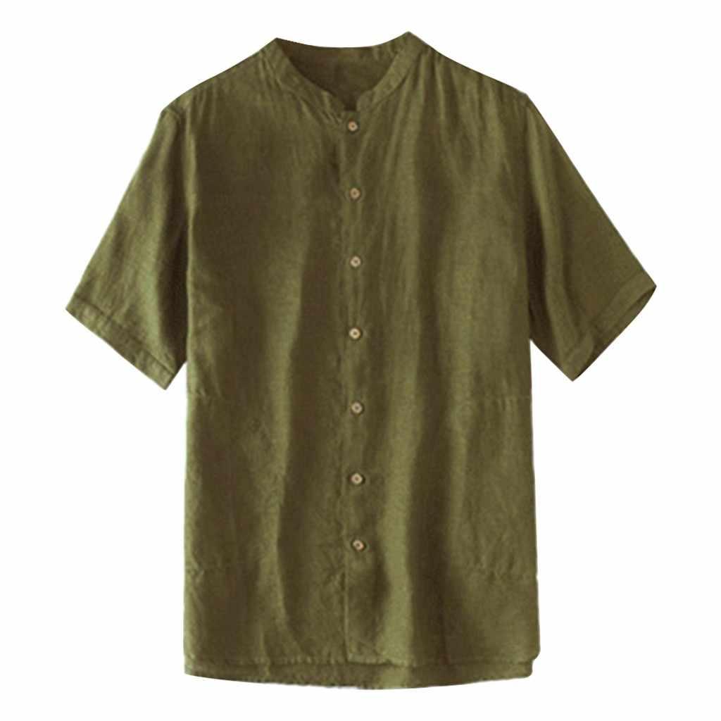 男性のシャツ夏カジュアルファッション純粋な綿と麻レトロ半袖シャツ男性快適なトップアロハシャツシュミーズオム