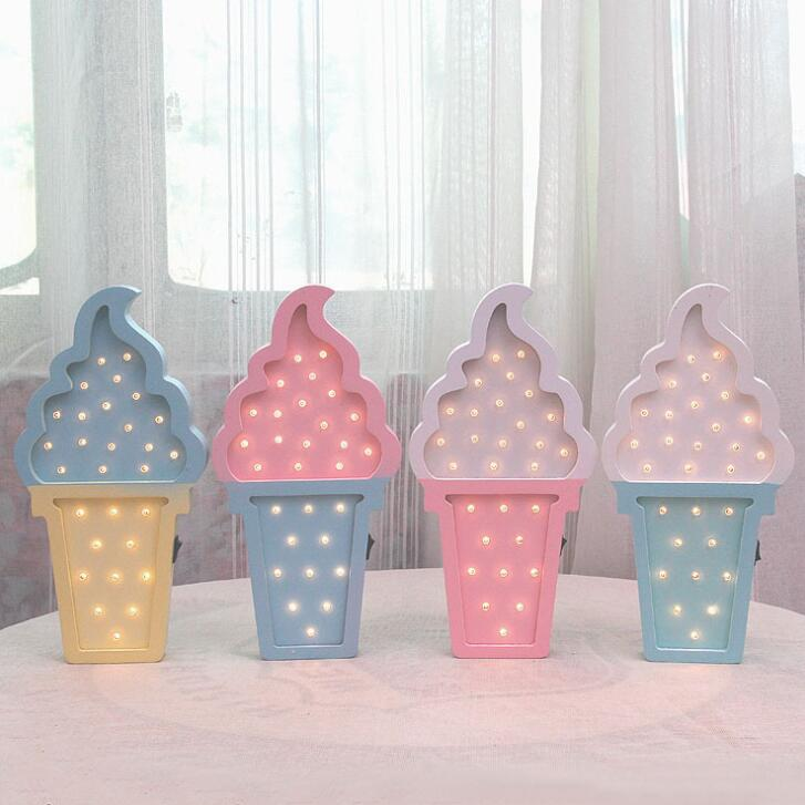 DZ T Ice Cream LED Night Lights Birthday Gift Table Lights Children's Rooms Desktop Arrangements