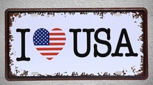 1 pc I love USA America flag New York plaques Tin Plates Signs wall man cave Decoration Metal Art Vintage Poster