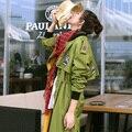 MX108 Новое Прибытие Осень 2016 завышение повседневная epaulet свободные длинным рукавом army green траншеи пальто женщин