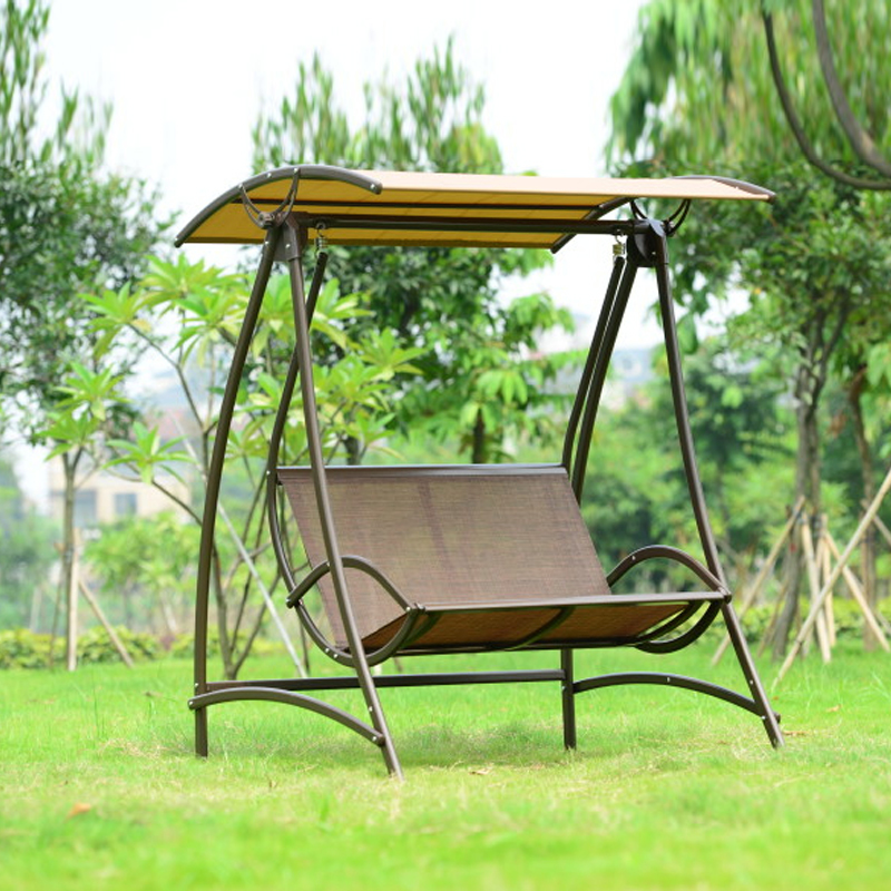 2 Seats Durable Iron Garden Swing Chair Comfortable Hammock Outdoor  Furniture Sling Cover Bench Khaki(