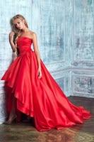 Elegant Simple Asymmetrical Prom Dresses Strapless High Low Red Puffy Party Dress Organza Vestido De Festa