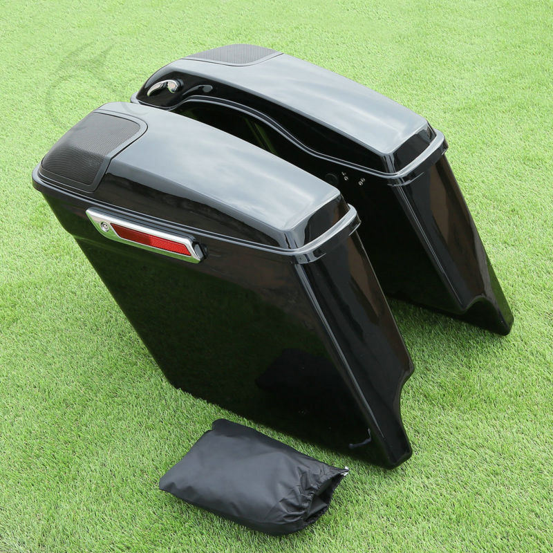 Cutout Extended Stretched Saddlebags + Speaker Grill For Harley Touring 2014-18 FLHT FLHX Road King Road Electra Street Glide