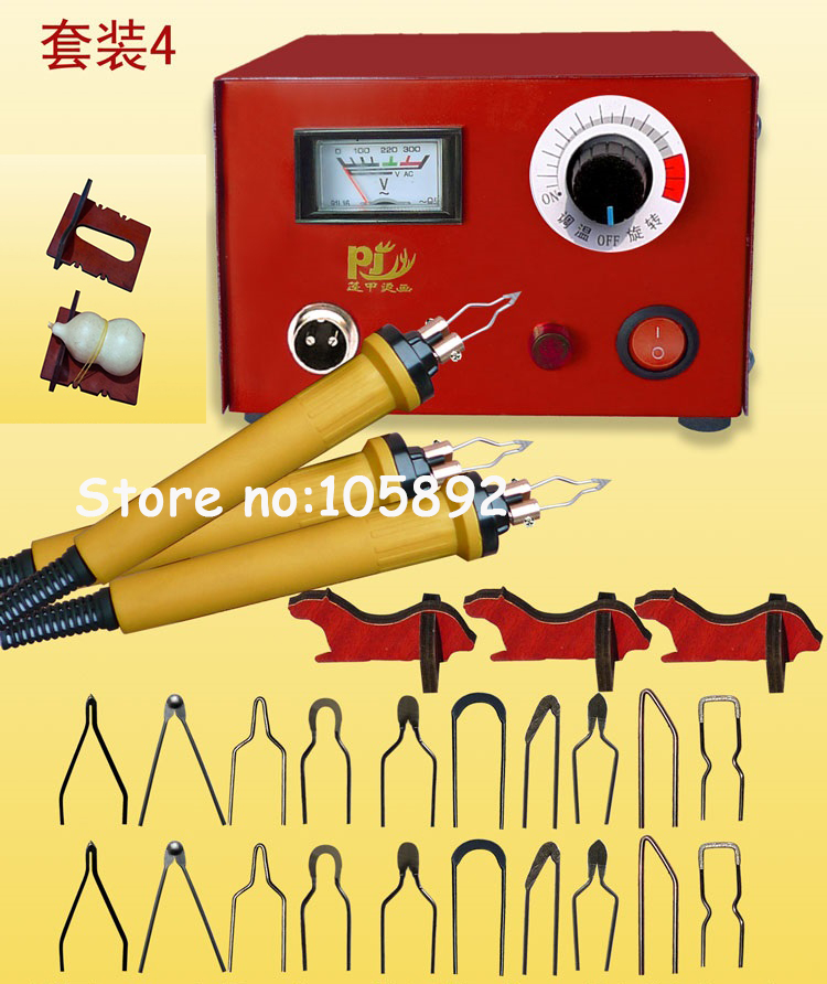 Фотография 220V Professional toolkit Pyrography machine+20pcs Pyrography Tips+3pcs Cutter Pen +1pc gourd pyrograph holder+3pcs pen holder