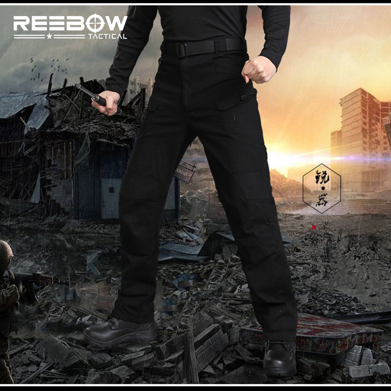 REEBOW TACTICAL Military Outdoor Men Cargo Pants Autumn Sports Camping Hiking Airsoft SWAT Multi-pockets Elastic Cotton Trousers ix7 urban tactical cargo pants men outdoor sports swat force training multi pockets trousers overalls cotton military army pant