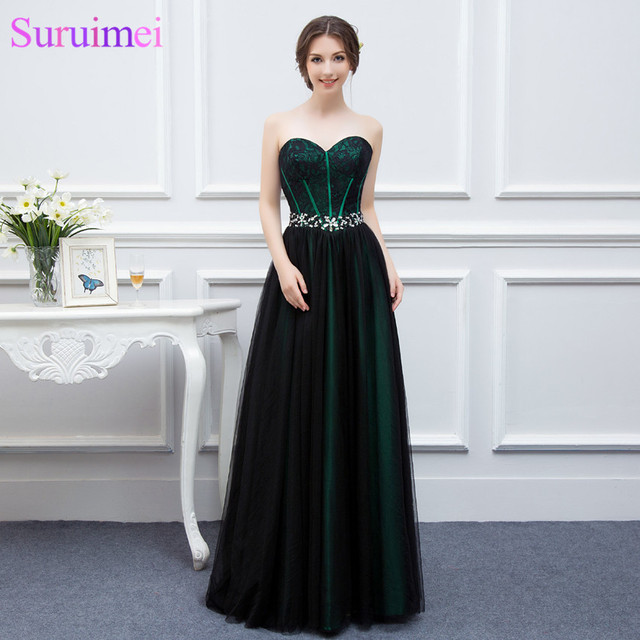 09c3cdfad New Design Emerald Green Evening Dresses Woman Black Tulle Applique Beaded  Long Formal Evening Gown Real Sample High Quality