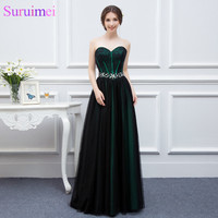 New Design Emerald Green Evening Dresses Woman Black Tulle Applique Beaded Long Formal Evening Gown Real