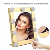 Vanity Tabletops Lighted Makeup Mirror With 9 LED Bulb Lights Dimmer Beauty Mirror Portable Touch Screen Mirror US Plug New sale