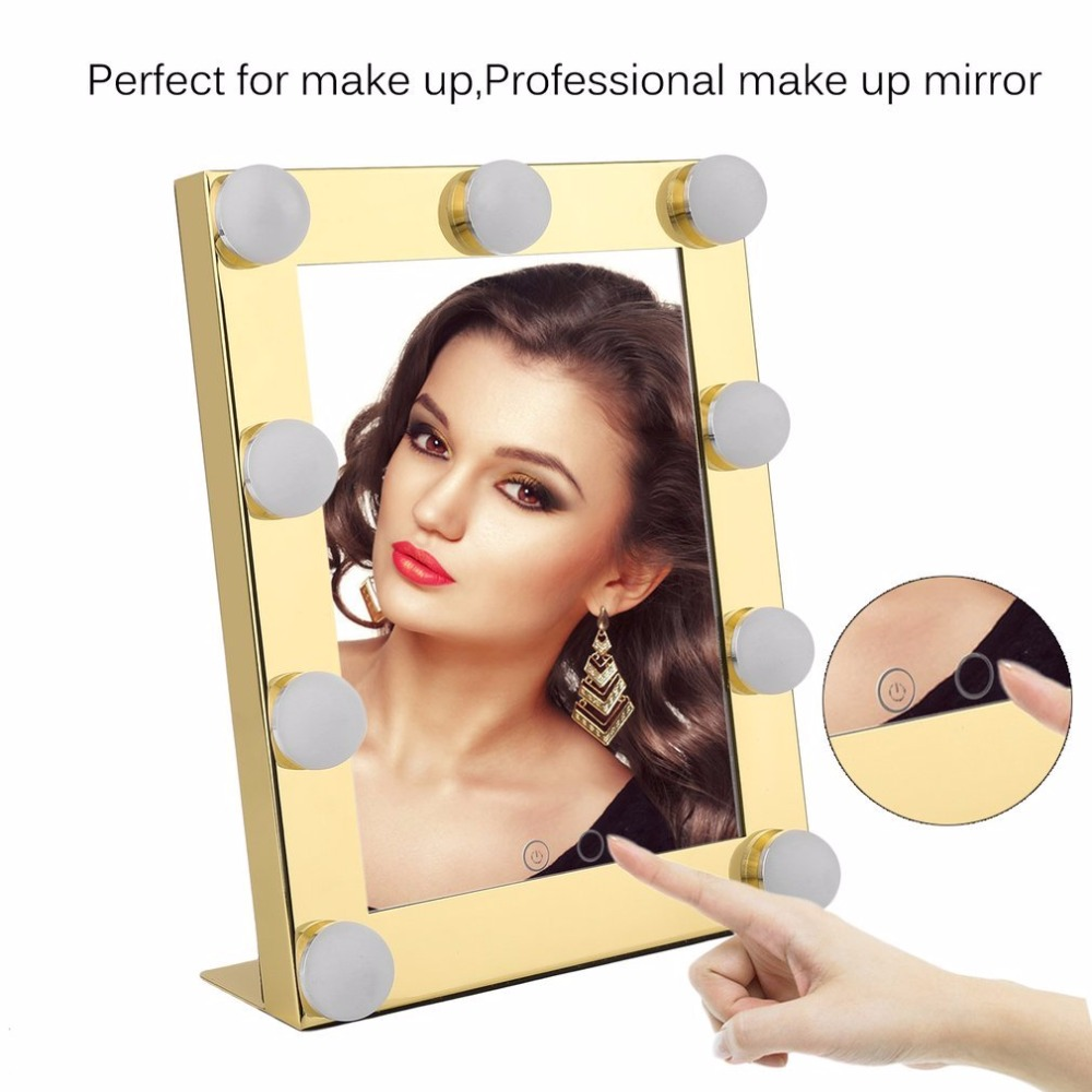 Vanity Tabletops Lighted Makeup Mirror With 9 LED Bulb Lights Dimmer Beauty Mirror Portable Touch Screen Mirror US Plug New sale portable led touch screen makeup mirror