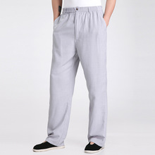 New Arrival Gray Chinese Men's Kung Fu Trousers Cotton Linen Pants Clothing Size S M L XL XXL XXXL 2350