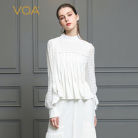 VOA Heavy Silk Tee White Pearl Clasp T Shirt Plus Size 5XL Women Tops Elegant Ruffle