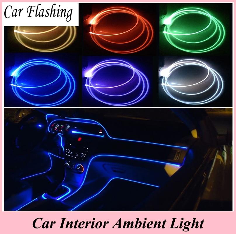 car flashing 4 meter car interior ambient light panel illumination car inside cool strip refit. Black Bedroom Furniture Sets. Home Design Ideas