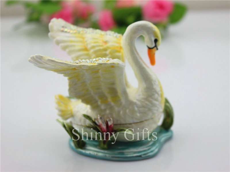 Shinny Gifts Pewter Swan Hinged Trinket Box Swan Handmade Jeweled Metal Trinket Box