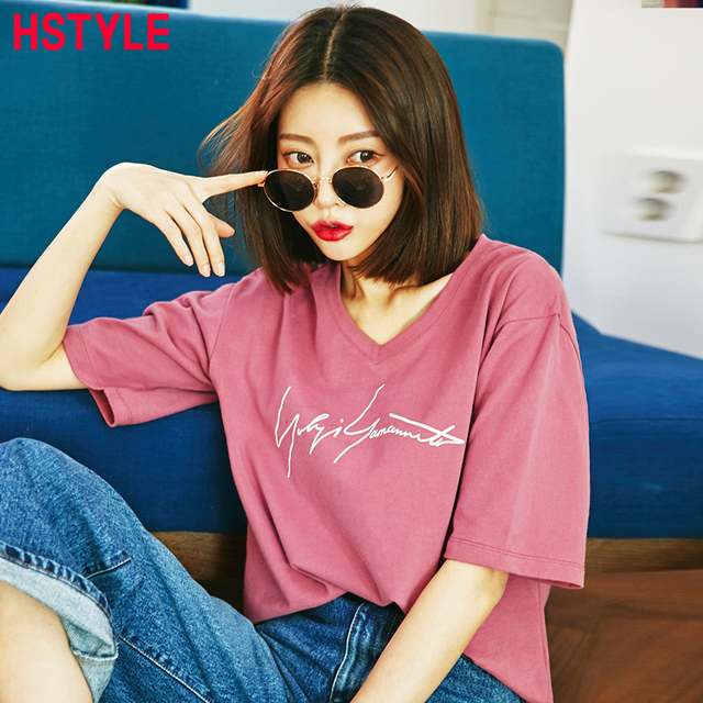 22cd62d8 HSTYLE 2018 Spring New Loose V-Neck T-Shirt Women Casual Letter Printed  with Elbow Sleeves Solid Color Women's T Shirts