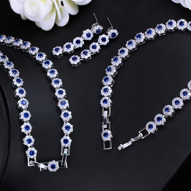 Blingzircons Dark Blue Flower Cubic Zirconia 3 Pcs Tennis Bracelet Necklace Earrings Wedding Bridal Jewelry Sets For Women Js177 Wedding & Engagement Jewelry