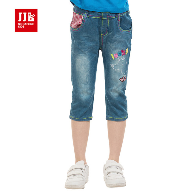 girls jeans summer kids demin jeans knee length brand kids pants girls clothing
