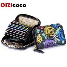Women Genuine Leather Credit Card Holder Fashion Zipper Card Holder Rfid Wallet Driver License Bag Wallet Case