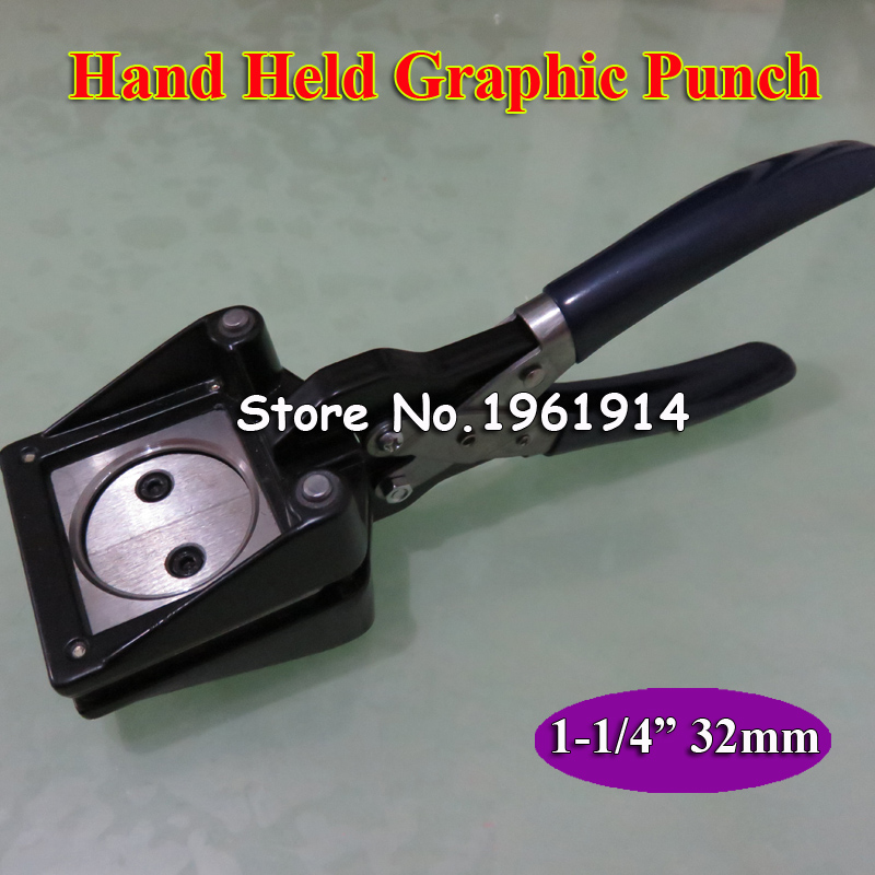 Manual Circle Cutter Hand Held Round 32mm Paper Graphic Punch Die Cutter 1 1/4 Pro Button Maker Making Tool