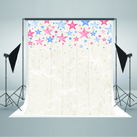Children Photo Backdrops Red Blue Five-Pointed Star Birthday Photo Backdrops White Board Walls Backdrops for Photographic Studio