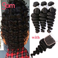 7A Peruvian Loose Wave Virgin Hair With Closure Ali Moda Peruvian Virgin Hair Curly Weave Human Hair 3 Bundles With Lace Closure