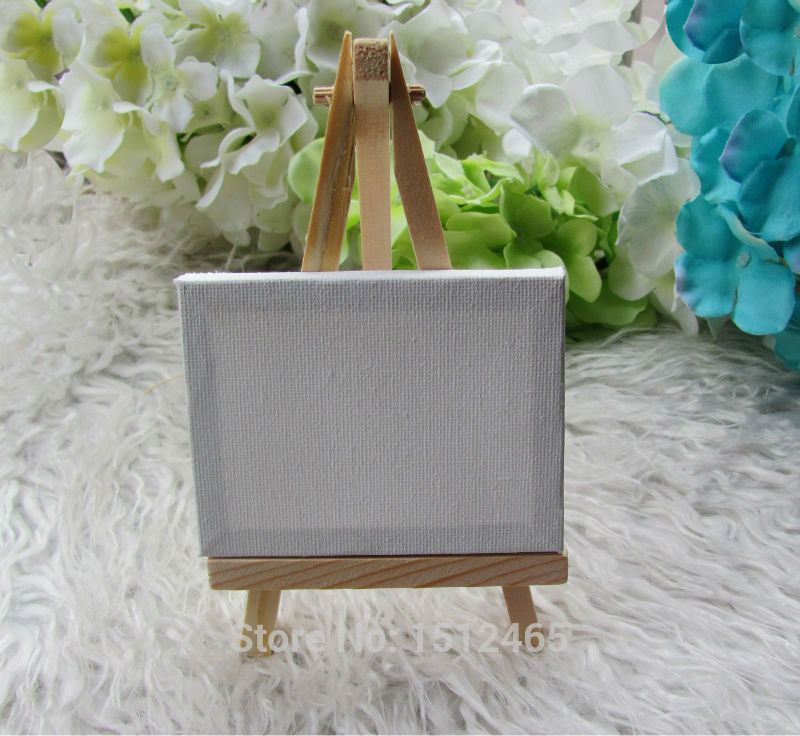 24 set Mini Display Easel WIth Canvas 7 * 9cm Bröllopsbord Numbers Painting Hobby