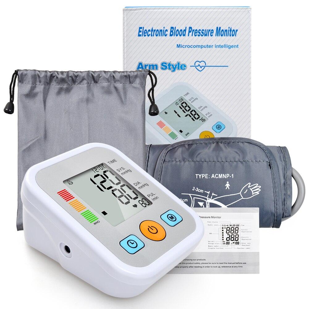 Di alta Qualità A Casa Salute e Bellezza Superiore del Braccio Digitale di Pressione Sanguigna Monitor sfigmomanometro Tonometro per la Misurazione del Contatore Automatico