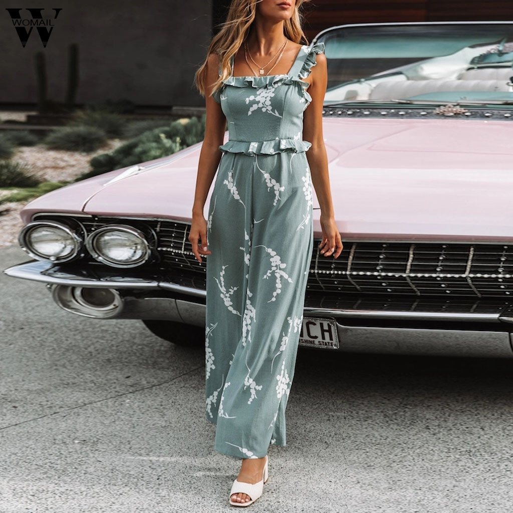 Womail bodysuit Women Summer Casual Loose Print Ruffled Ladies Sleeveless Playsuit Long   Jumpsuit   fashion 2019 dropship M12