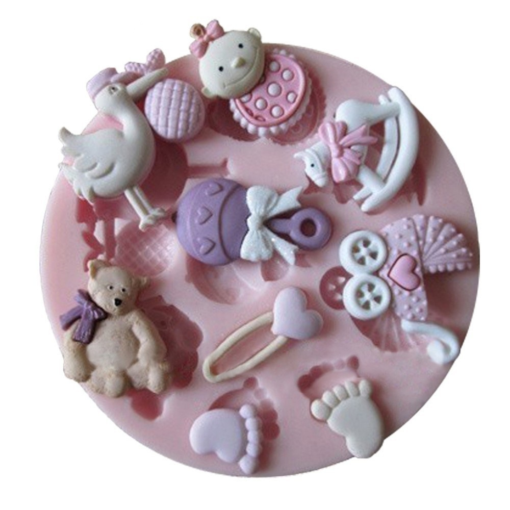 1PCS Baby Shower Party Fondant Molds Silicone Mold Soap Candle Moulds Sugar  Craft Tools Chocolate Moulds