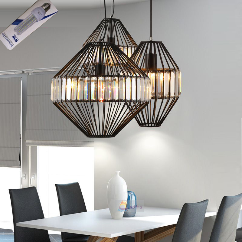modern lounge pendant lights white black iron restaurant modern lounge pendant lights white black iron restaurant kitchen light bird cage lamps home indoor crystal pendant lamp lamparas aloadofball Image collections
