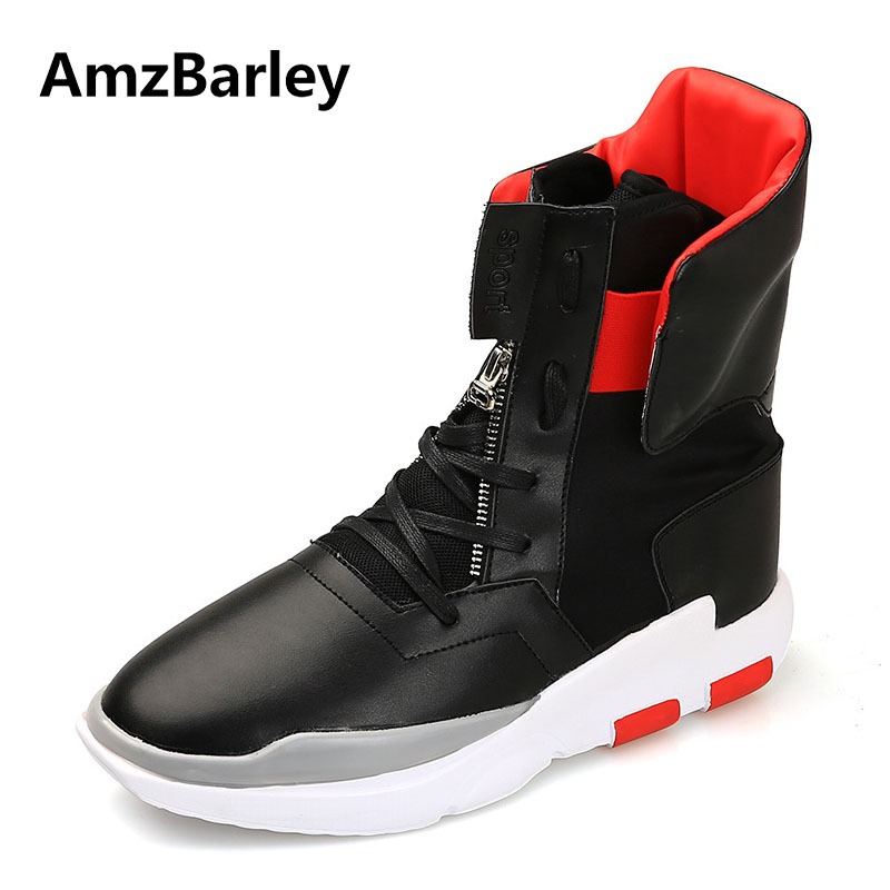 AmzBarley Mens Shoes Basic Hip Hop High Top PU Leather Zipper Patchwork Casual Men Lace Up POP Footwear Chaussure 2018 цены онлайн