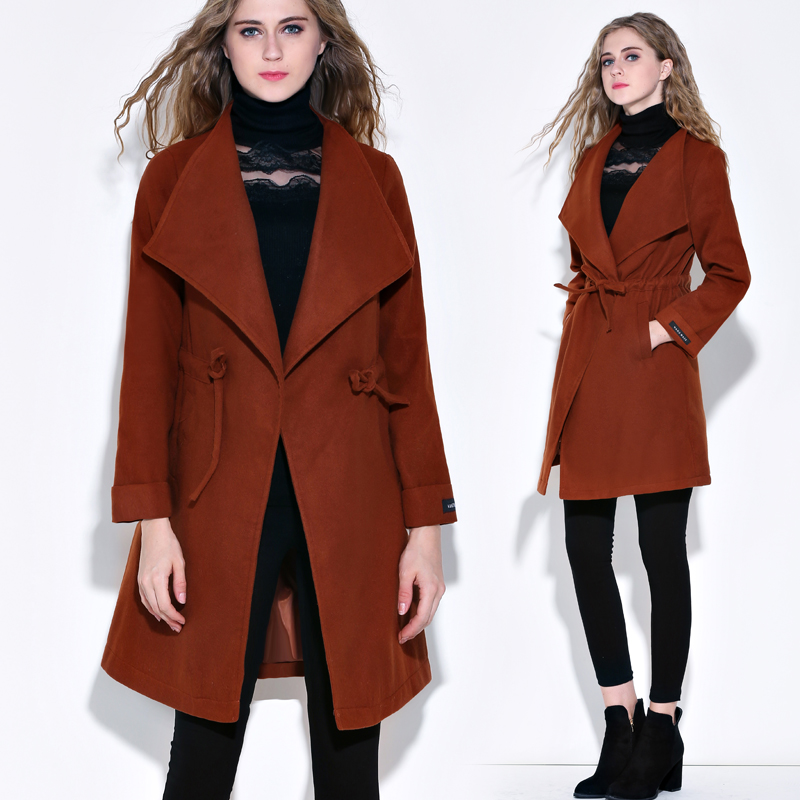 Women's clothing 2018 female autumn and winter clothing new long temperament solid color woolen coat plus velvet thick coat