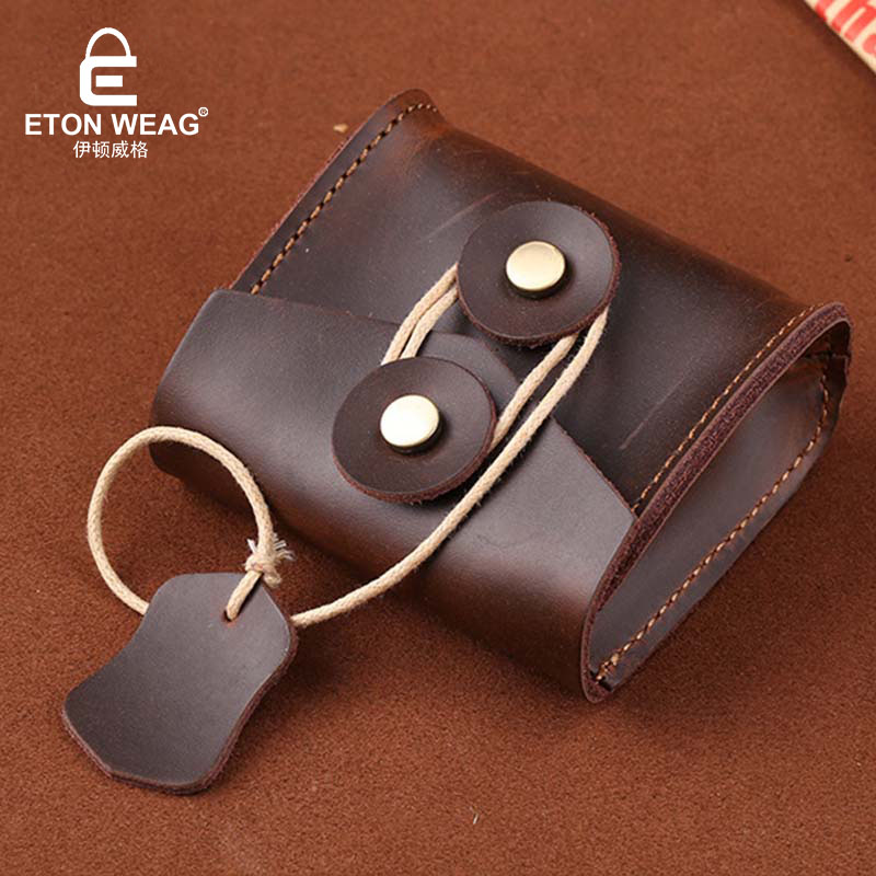 ETONWEAG Brands Cow Leather Womens Wallets And Purses Brown String Vintage Organizer Coin Purse Preppy Style Cute Mini Wallet