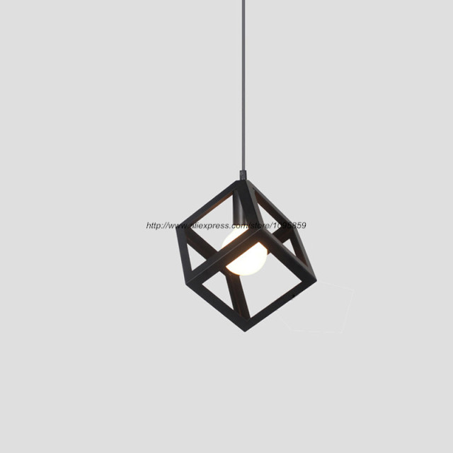 Black Square Metal Pendant Light Fixture Vintage Cube Cage Iron Ceiling Hanging Lighting 1 LED Bulb