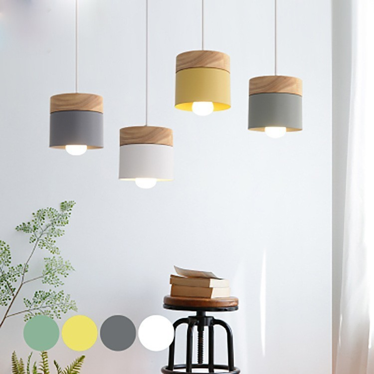 Modern Led Pendant Light Fixture With Wood Iron Dining Room Bar Cafe Restaurant Nordic Indoor Wooden Cylinder Hanging Lamp