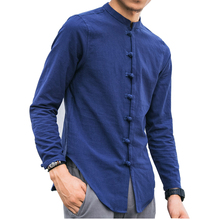 ZEESHANT Plus Size M-5XL Casual Social Shirt 9 Colors Men Long Sleeve Chinese Style Linen Shirts Traditional Kung Fu Tang Top