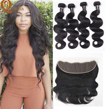 Queen Weave Beauty Ltd 7A Peruvian Virgin Body Lace Frontal Closure with Bundles Bella Dream Hair with Frontal 3 Bundles Deals