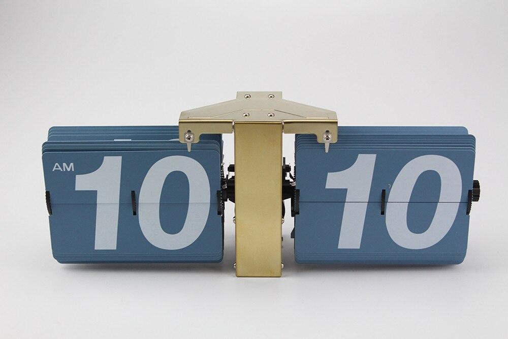 2018 cadeau créatif rétro numérique Auto Flip horloge en acier inoxydable cadran à engrenages à Quartz horloge Unique moderne horloges de bureau - 6