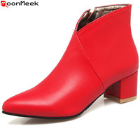 MoomMeek Fashion Autumn Winter New Arrive Women Boots Pointed Toe Ladies Boots Black Red Blue Zipper