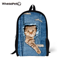 WHOSEPET Cute Cats Bookbag Satchel Bag Women Men School Causal Backpacks for Girls Boys Kawaii Shoulder Bag Travel Rucksack New