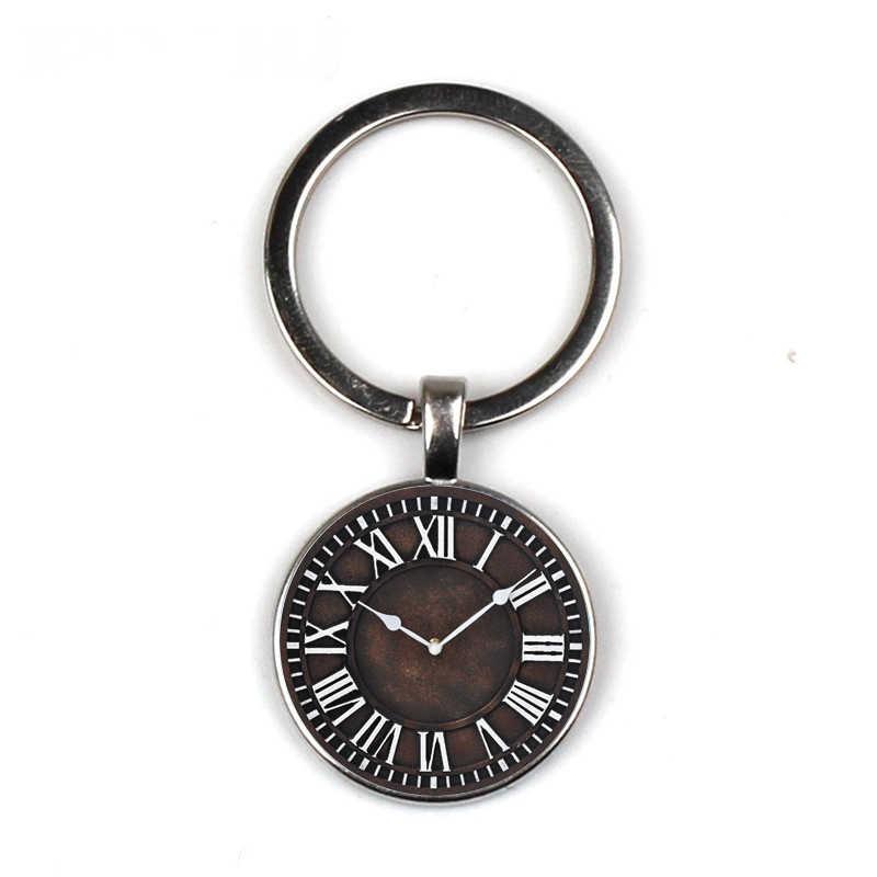 الحديد المطاوع على مدار الساعة مفتاح سلسلة ساعة حائط حلقة رئيسية ساعة هدية ريترو الوقت الخاص مخصص صديق هدية