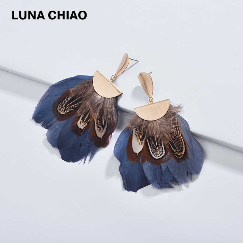 LUNA CHIAO 2019 New Designer Jewelry Fashion Fancy Painted Real Feather Fan Fringed Shape Women Female Statement Earrings