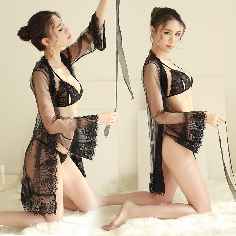 Nightgowns   &   Sleepshirts   Ladies lace sexy adult   Nightgowns   mesh nightdress three-piece Underwear
