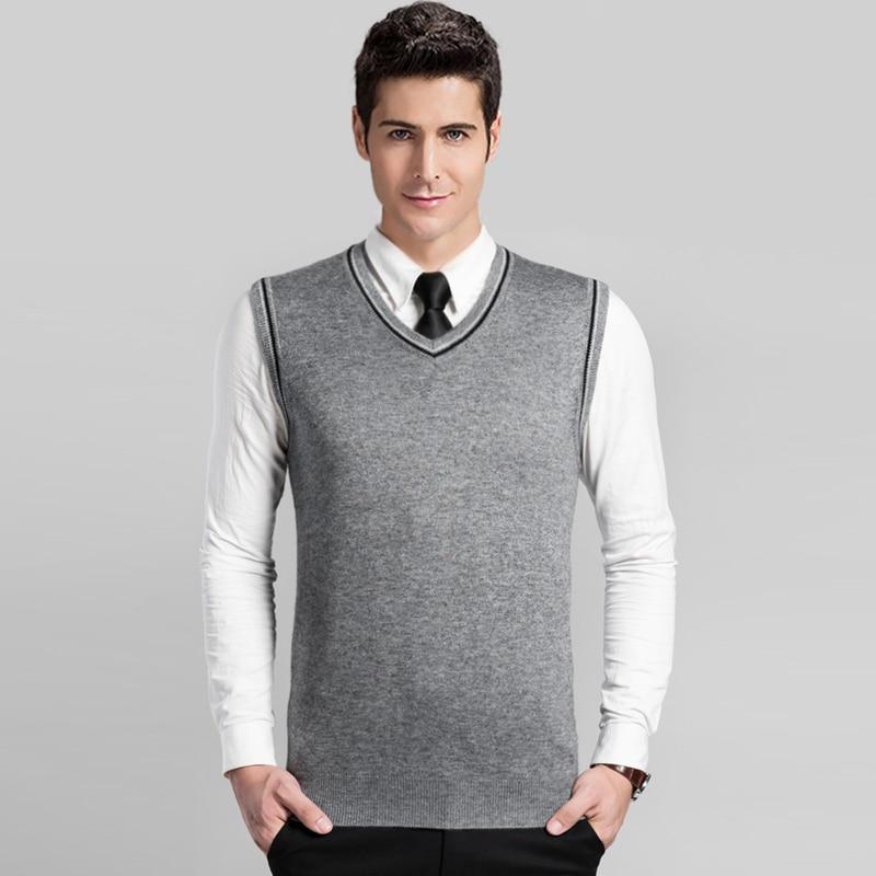 2016 Neue Männer V-ausschnitt Business Büro Einfarbig Kaschmir-pullover Weste üBerlegene Leistung