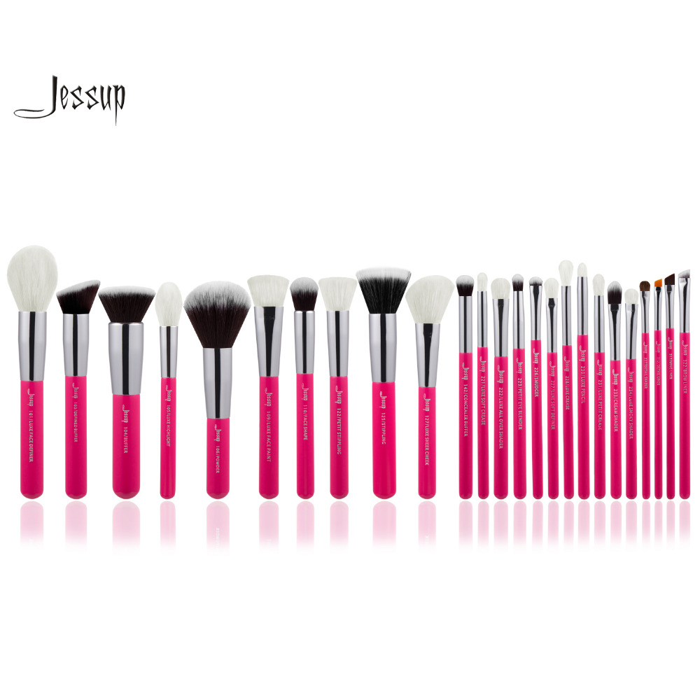 Jessup Rose-carmin/Silver Professional Makeup Brushes Set Make up Brush Tools kit Foundation Powder Blushes professional makeup brushes set make up brush tools kit foundation powder blushes white and black