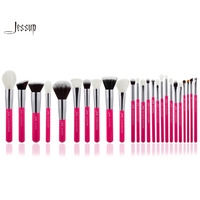 Jessup Rose Carmin Silver Professional Makeup Brushes Set Make Up Brush Tools Kit Foundation Powder Blushes