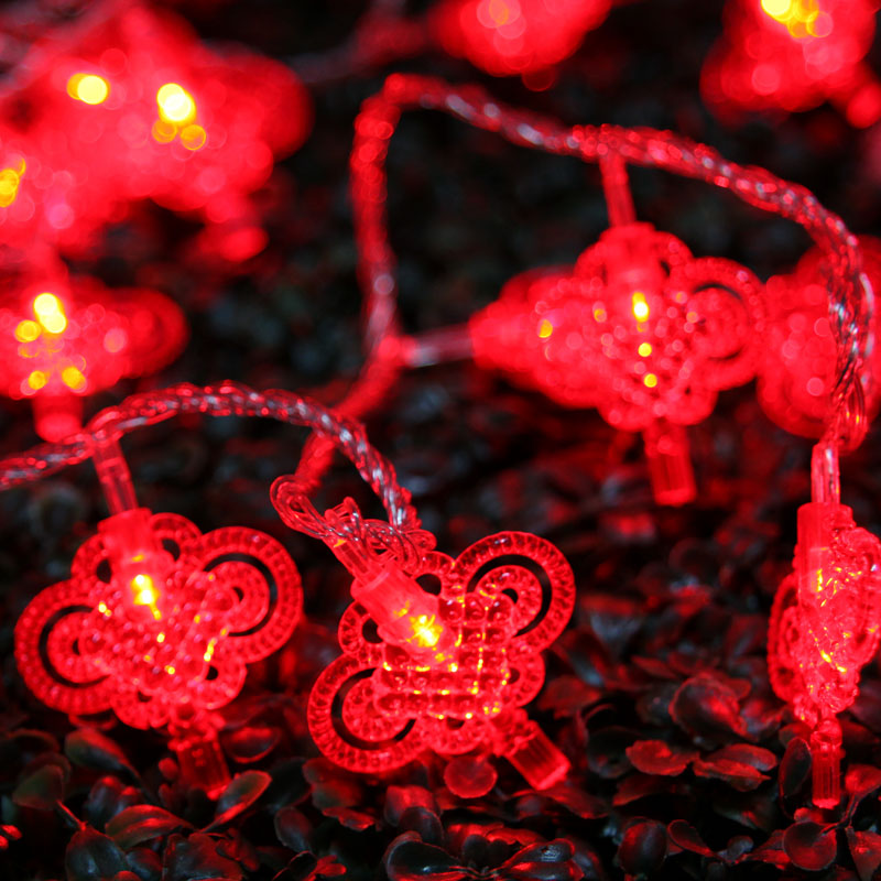 Chinese knot battery powered led string lights,10/5 meter option for New year, holiday festival,event party light decoration
