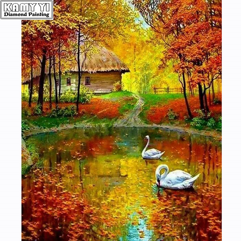 5D DIY Diamond Painting Cross-stitch Geese In The River Crystal Needlework Full Diamond Embroidery Painting By Numbers On Canvas