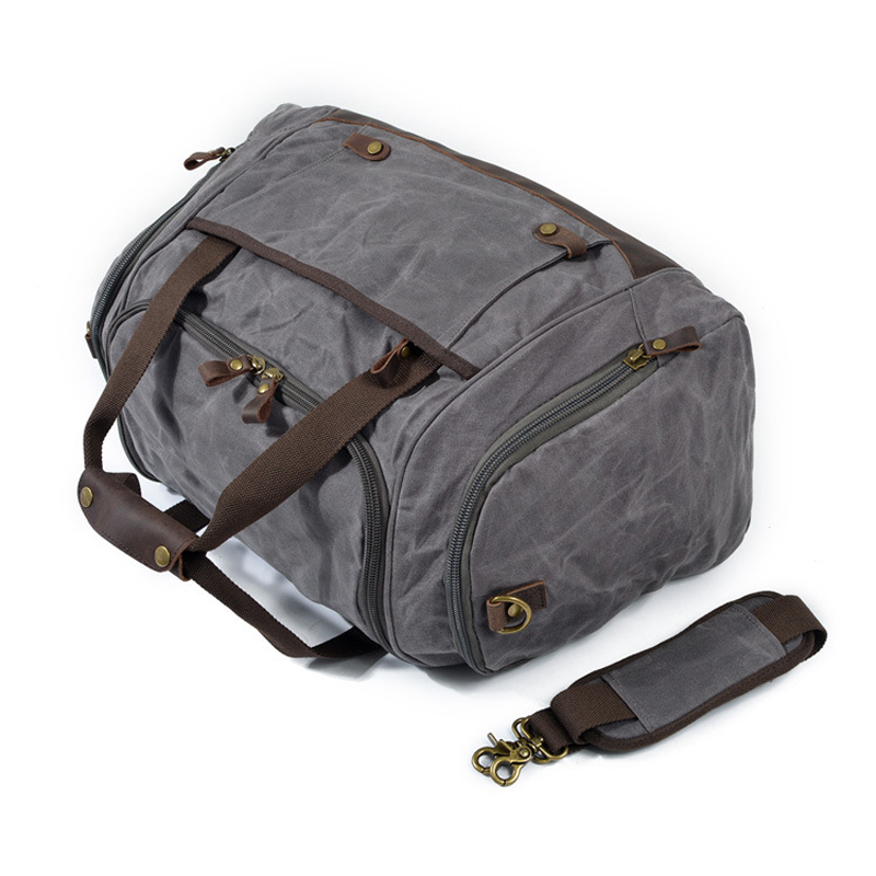 Brand design popular fashion extra large weekend duffel bag big waterproof of oil wax canvas leather business mens travel shoes