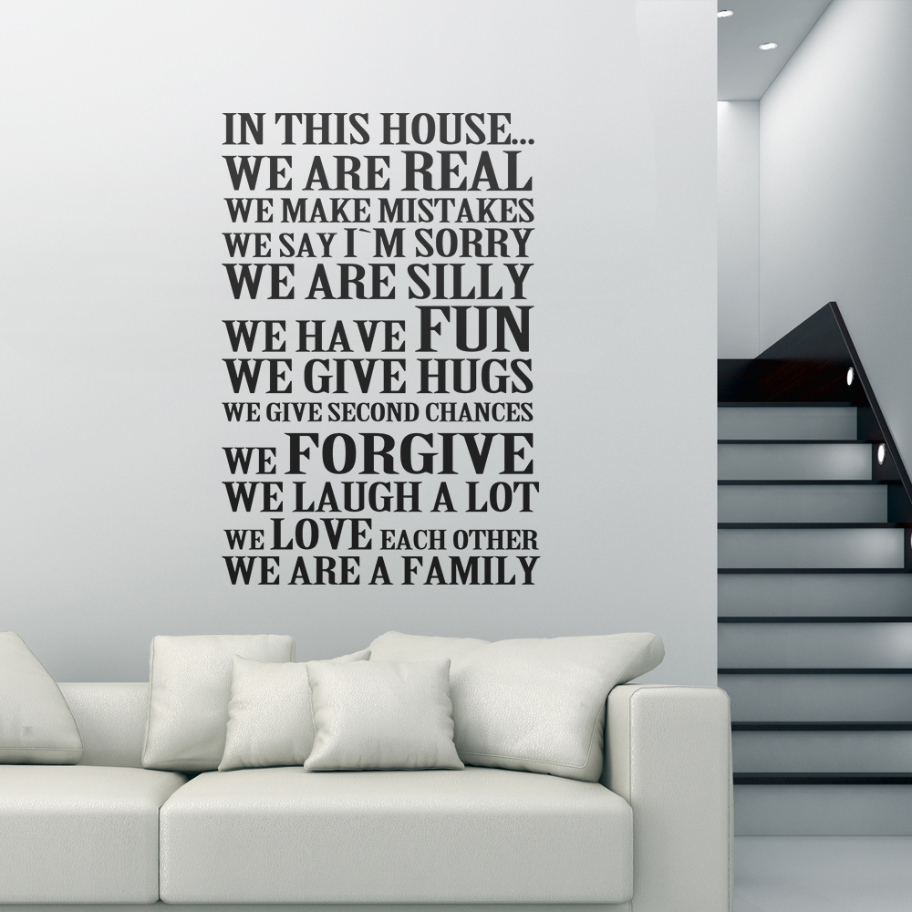 In this house we are real we love each other family house rules in this house we are real we love each other family house rules quote vinyl wall decal sticker 22 x 33 s in wall stickers from home garden on amipublicfo Choice Image
