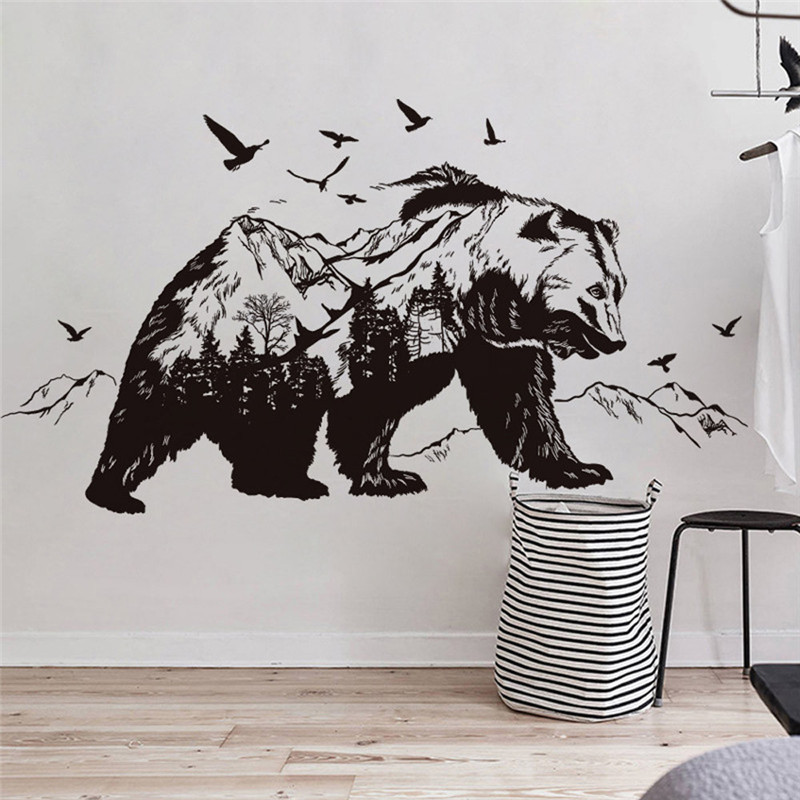 Large Black Bears Fish Mountain Wall Sticker Art Decals